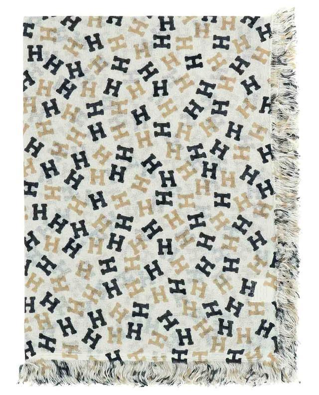 Foulard carré en soie et cachemire monogrammé Nies HEMISPHERE