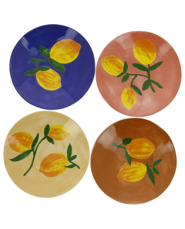 Ensemble de quatre petites assiettes en grès citron KLEVERING