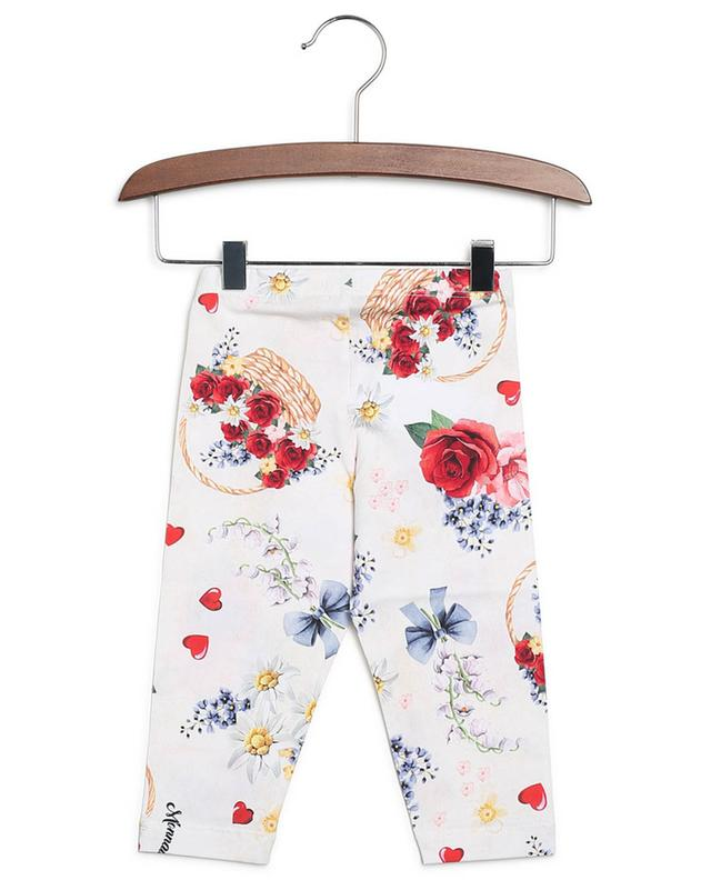 Legging en jersey imprimé paniers de fleurs MONNALISA