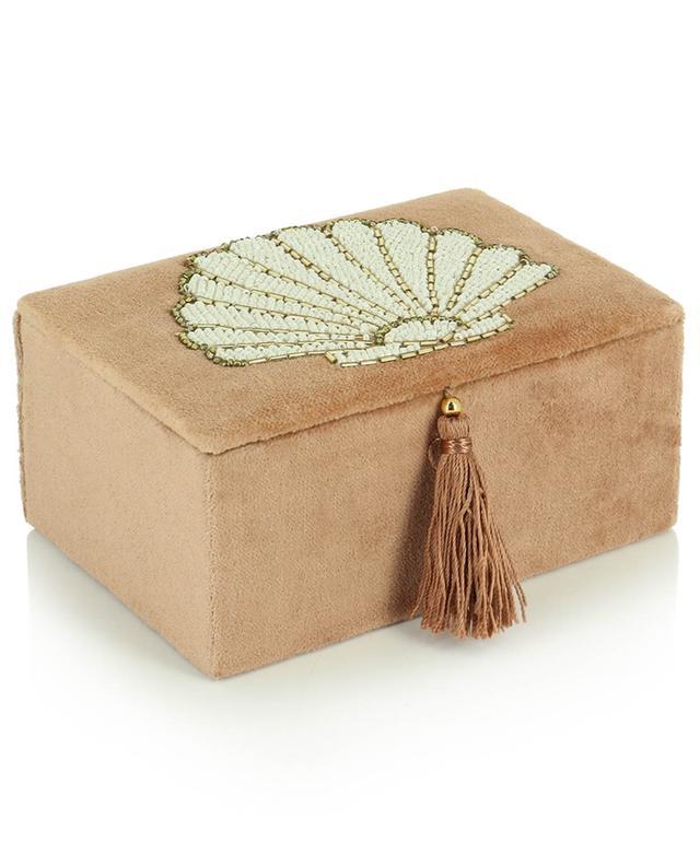 Petite boîte à bijoux en velours motifs coquillages A LA