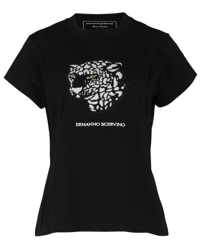 T-shirt en coton avec application léopard ERMANNO SCERVINO