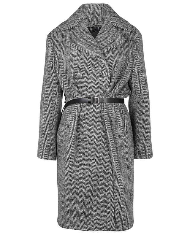 Manteau oversize à chevrons avec ceinture embellie de cristaux ERMANNO SCERVINO