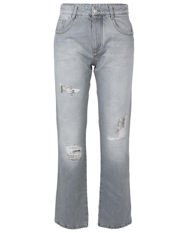 Graue Boyfriend-Jeans im Used-Look mit Kristallen ERMANNO SCERVINO