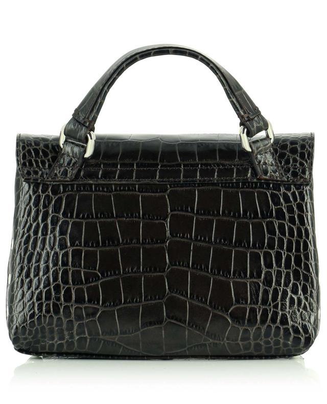 Petit sac à main en cuir effet crocodile Postina Baby Linea Ritratto Castagna ZANELLATO