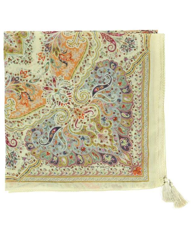 Foulard en soie froissée avec pompons ETRO