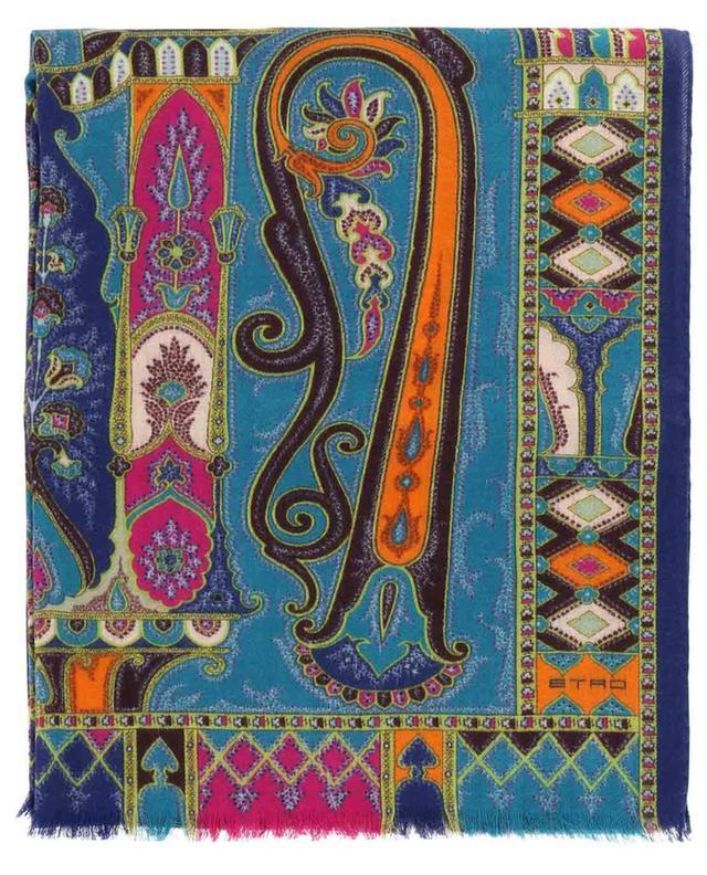 Écharpe en sergé de laine et soie imprimé oriental Delhy ETRO