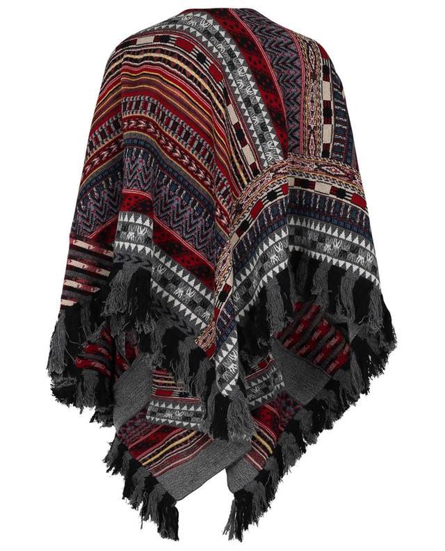 Poncho en maille multicolore ajouré motifs ethniques ETRO