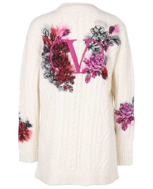 VLogo and rose embroidered long cable knit cardigan VALENTINO