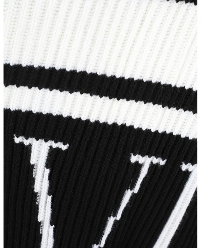 VLTN Intarsia rib knit virgin wool poncho VALENTINO