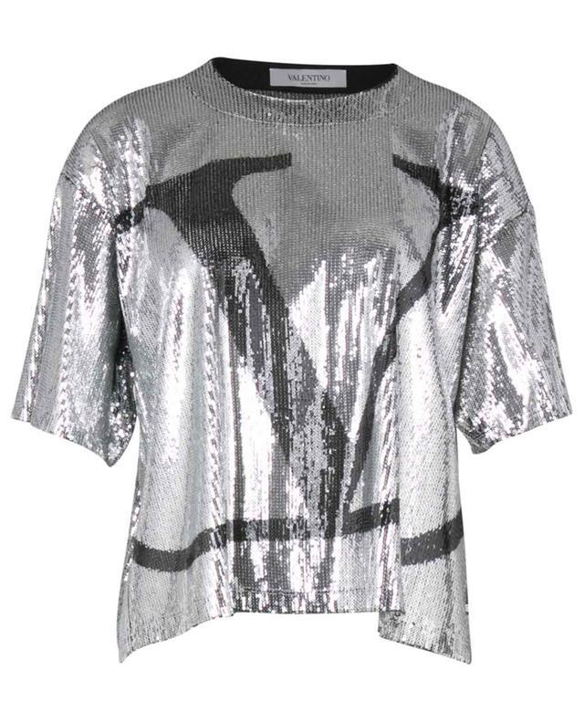T-shirt boxy couvert de paillettes VLogo Signature VALENTINO