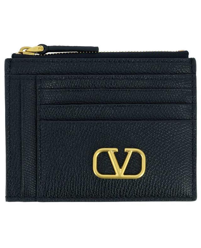 Porte-cartes avec poche zippée en cuir grainé VLogo Signature VALENTINO