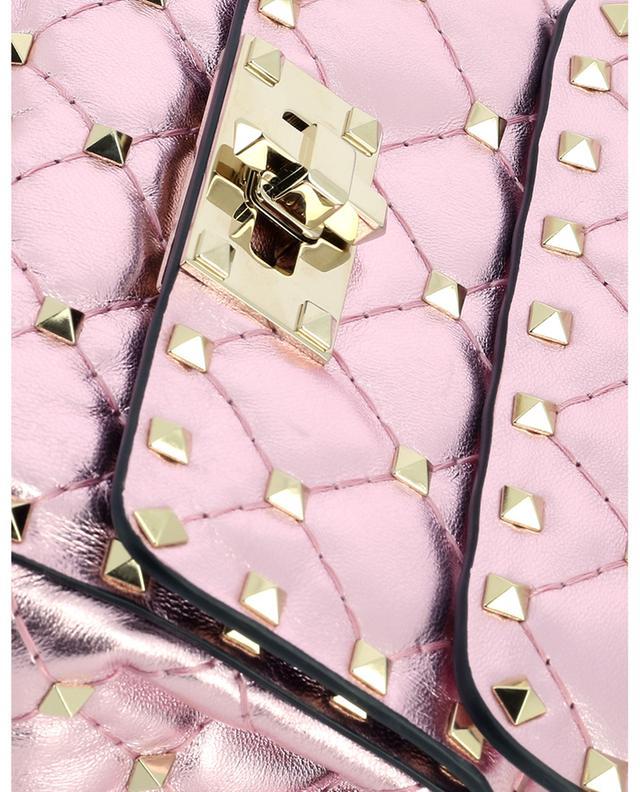 Sac porté épaule en cuir rose métallisé à clous Micro Rockstud Spike VALENTINO