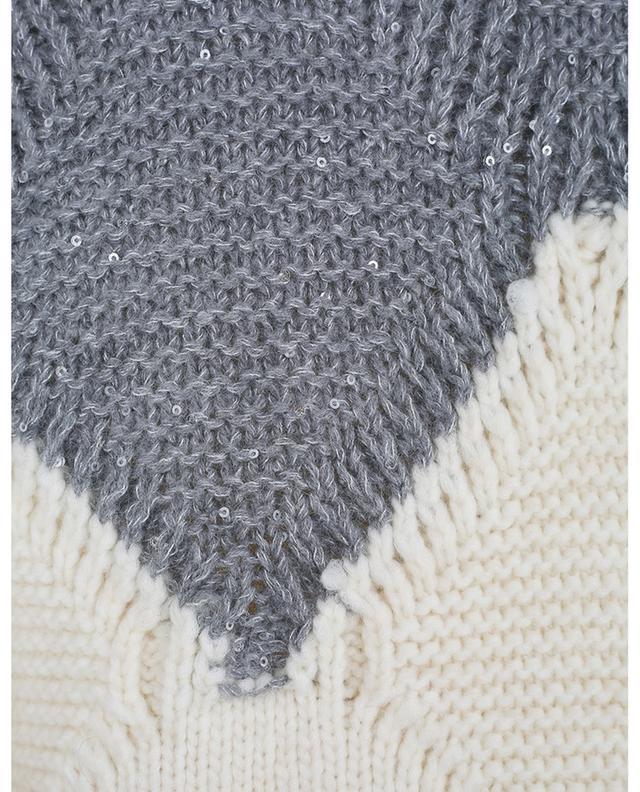 Bicolour boxy cable kint jumper with sequin embroideries FABIANA FILIPPI