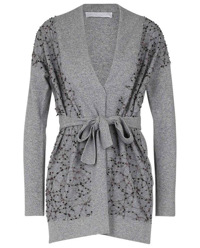 Cardigan en laine mérinos, soie et cachemire avec ceinture FABIANA FILIPPI