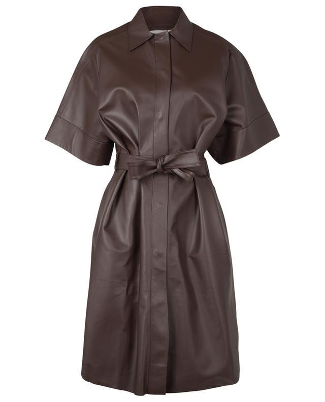 Robe en cuir à manches courtes avec ceinture Agate FABIANA FILIPPI