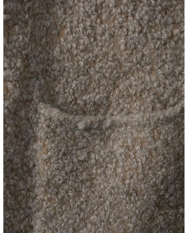 Cardigan en alpaga bouclé mélangé avec ceinture en cuir FABIANA FILIPPI