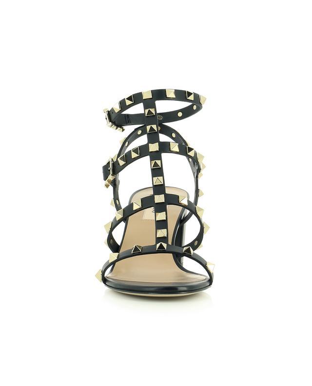 Sandales en cuir de veau clouté à talon carré Rockstud 60 VALENTINO