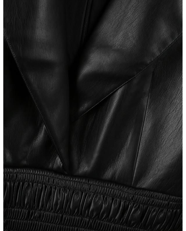 Faux-leather shirred mini dress SELF PORTRAIT
