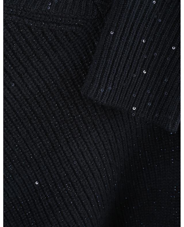Pull côtelé scintillant brodé sequins à cols V LORENA ANTONIAZZI