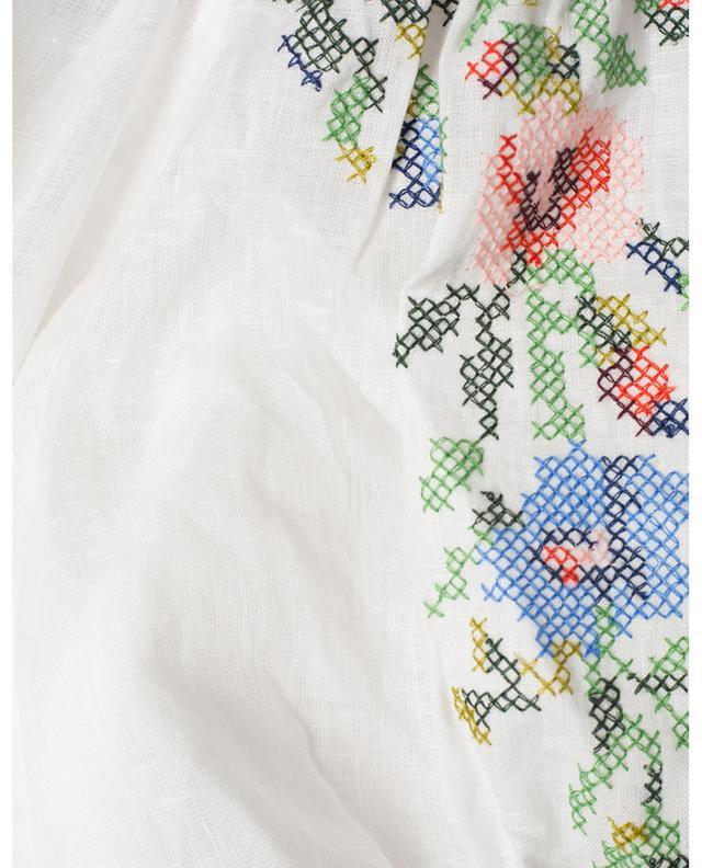 Top cache-coeur raccourci en lin brodé Juliette Cross Stitch Crop ZIMMERMANN