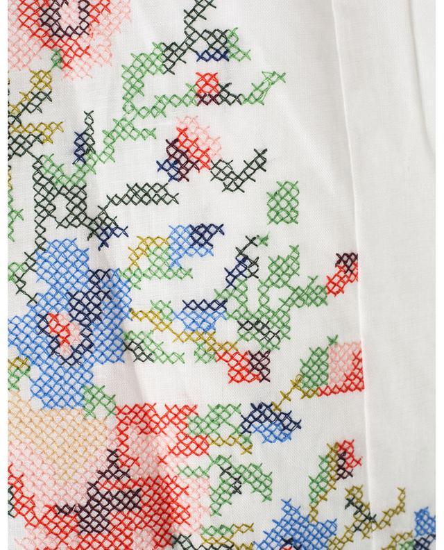 Leinenshorts mit hoher Taille und Stickereien Juliette Cross Stitch ZIMMERMANN