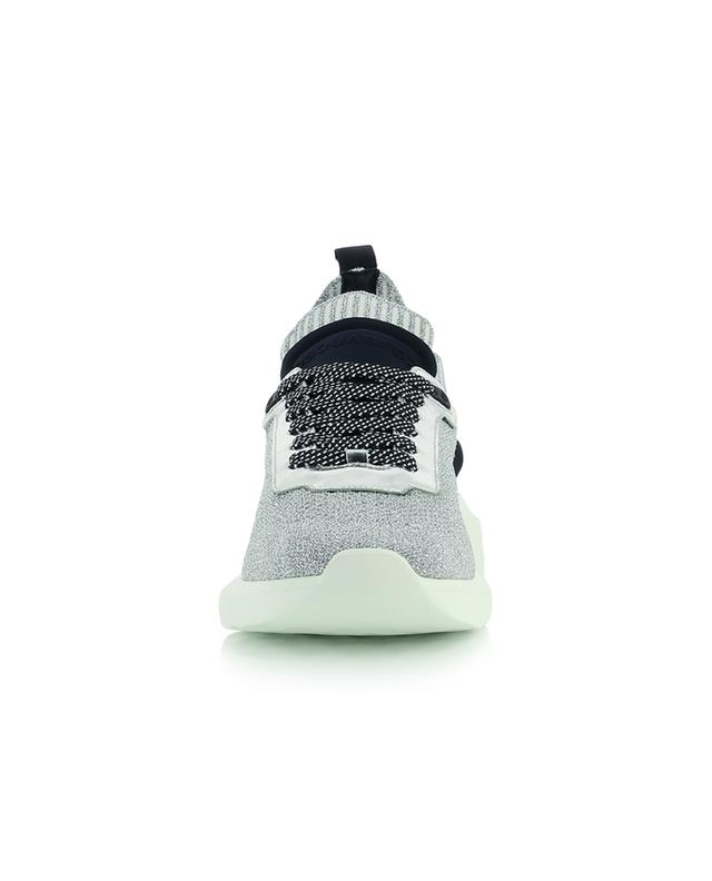 Speester Lamé low-top lace-up sneakers in silver knit DSQUARED2