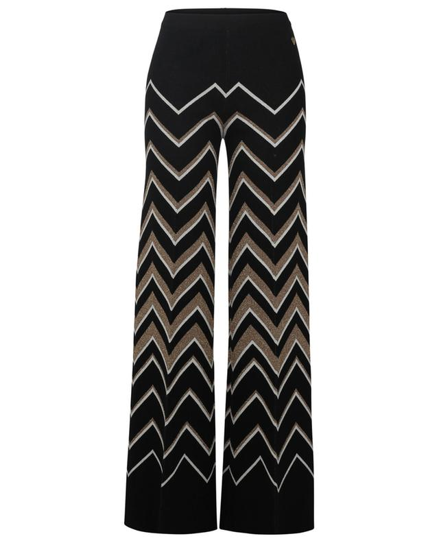 White and gold zigzag patterned wide-leg knit trousers TWINSET