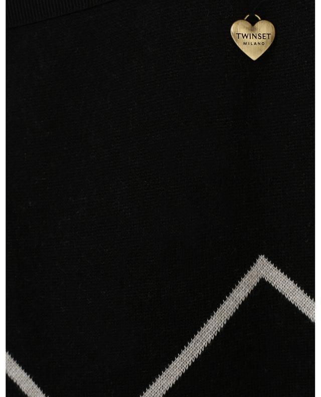 Pantalon large en maille motif zigzag blanc et or TWINSET