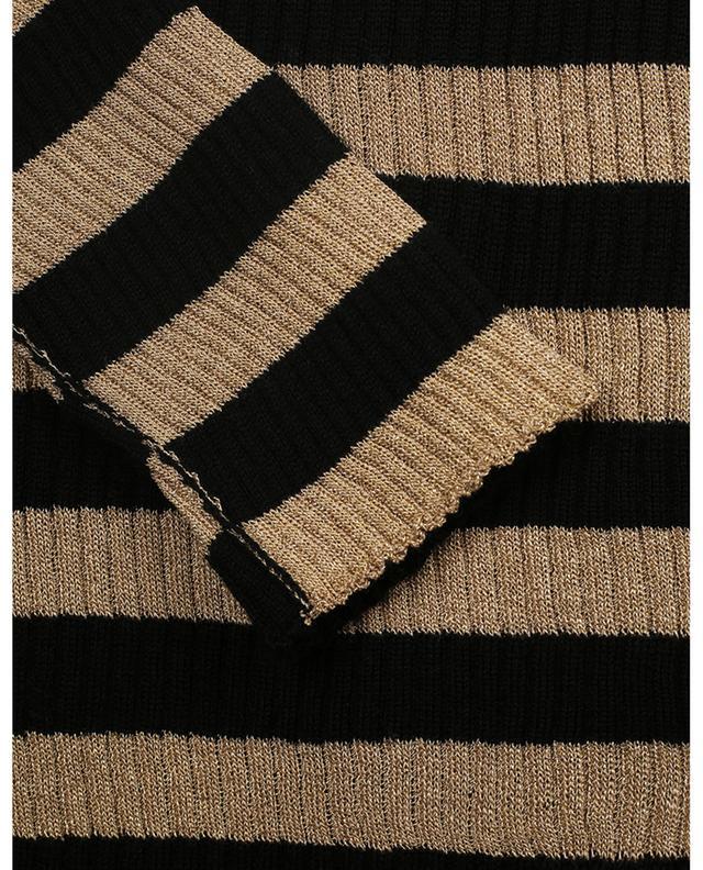 Pull chaussette rayé or et noir à col roulé TWINSET