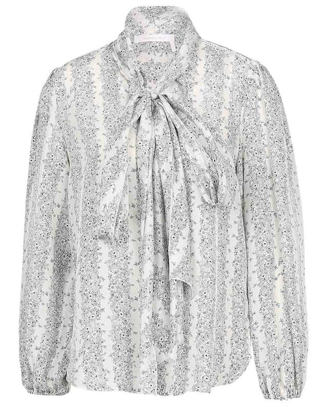 Floral Stripes silk habotai ascot tie blouse SEE BY CHLOE