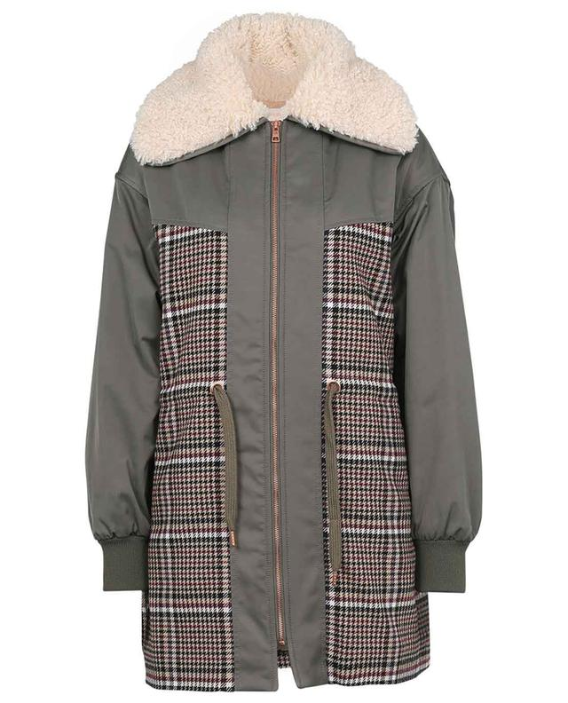 Check City bi-material parka with faux fur SEE BY CHLOE