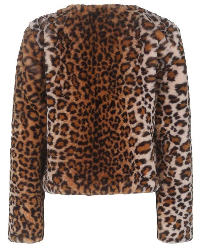 Veste courte en fourrure synthétique imprimée léopard LEA CLEMENT