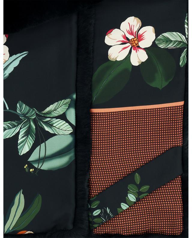 Écharpe en fourrure synthétique doublée de crêpe fleurie LEA CLEMENT