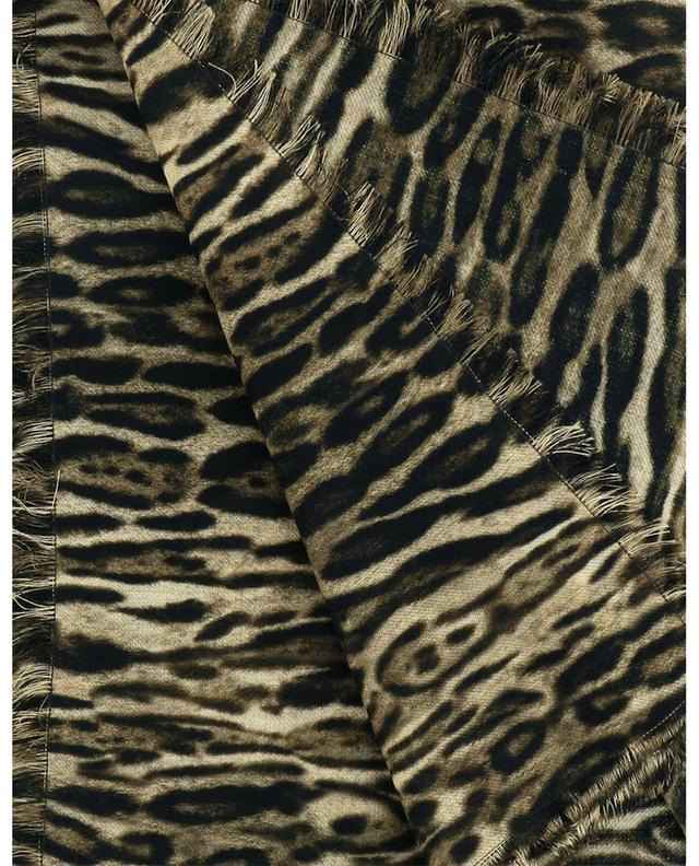 Grand foulard carré en laine imprimé Ocelot SAINT LAURENT PARIS