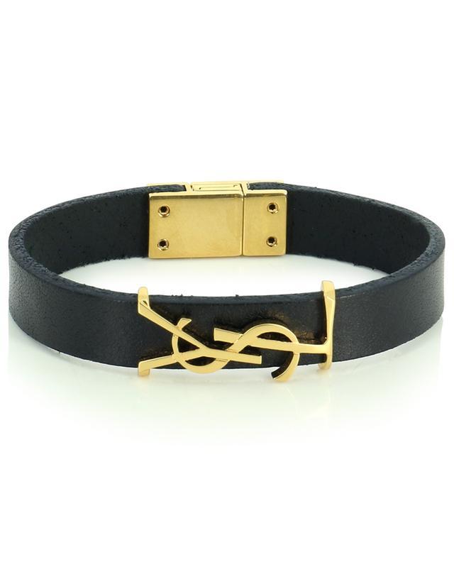 Bracelet monogrammé en cuir et métal doré Opyum SAINT LAURENT PARIS