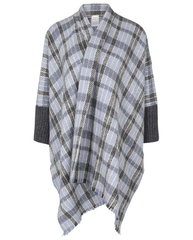 Soraya cashmere, alpaca, mohair and virgin wool-blend plaid cape with long sleeves 19 ANDREA'S 47