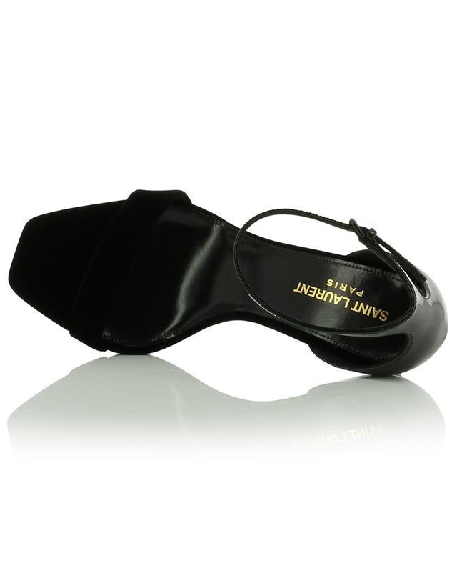 Sandales en cuir verni et velours Amber 85 SAINT LAURENT PARIS