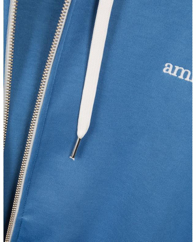 Sweat-shirt zippé en coton mélangé à capuche AMI