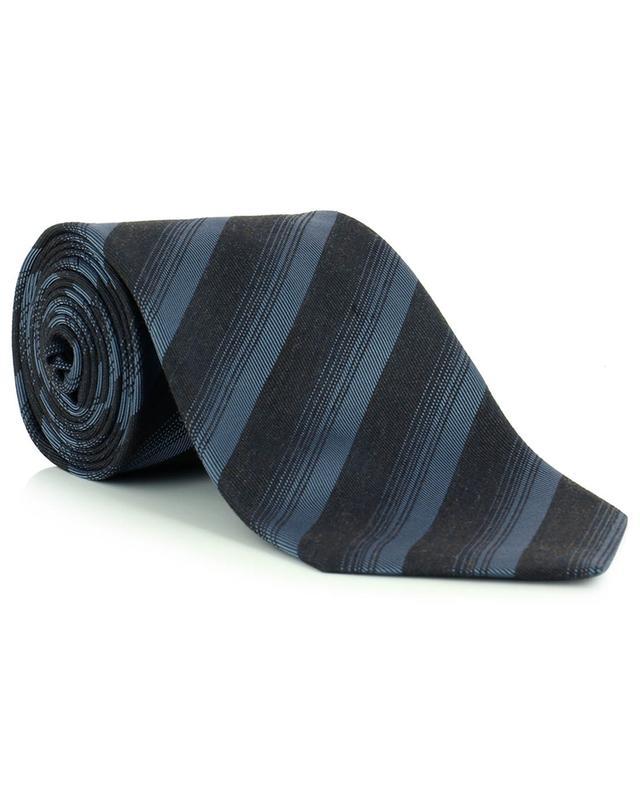 Cravate rayée en soie et viscose mélangées BRIONI
