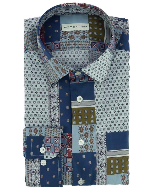 Chemise slim en coton motif patchwork ETRO
