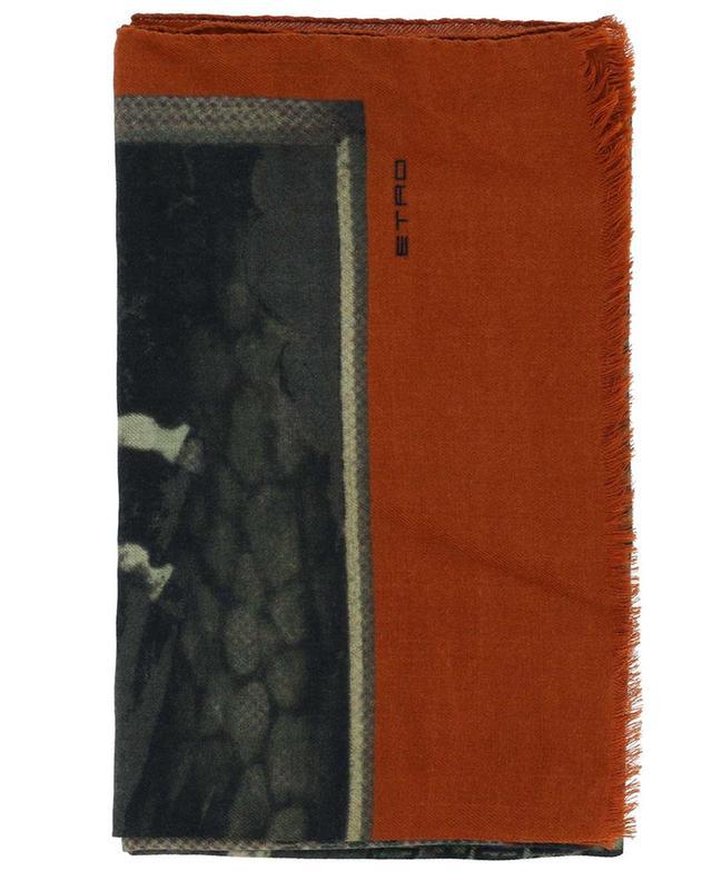 Écharpe légère imprimée Pegaso et logo Delhy ETRO
