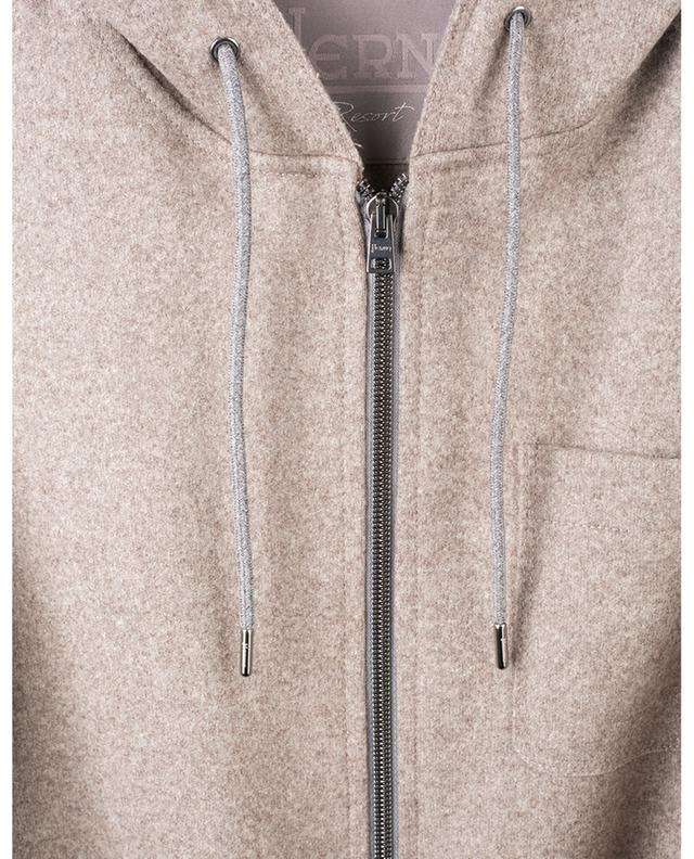 Zippered and hooded wool blend sweatshirt HERNO