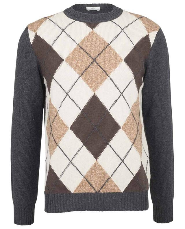 Pull motif losanges en laine et cachemire LUIGI BORRELLI