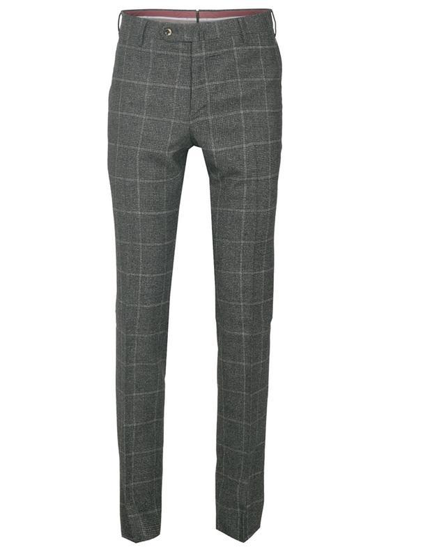 Pantalon slim en laine vierge à carreaux PT TORINO