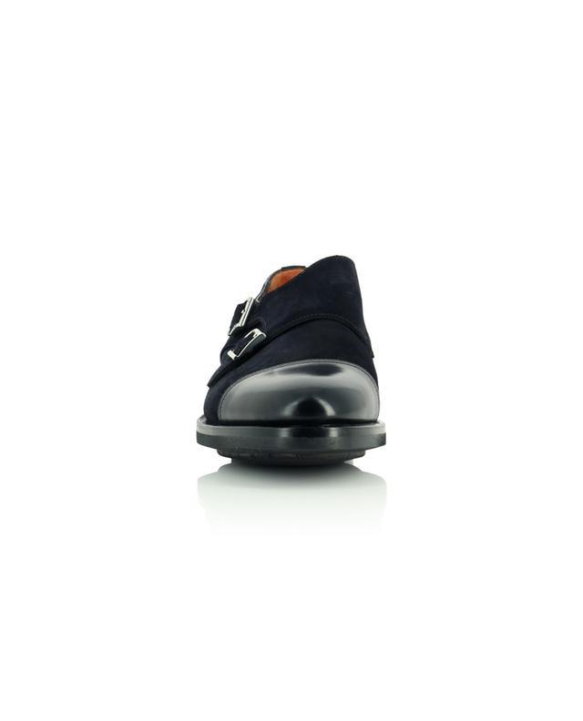 Chaussures à double boucle en daim et cuir lisse SANTONI