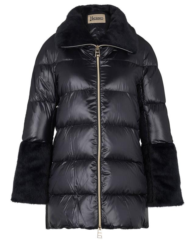 Lightweight A-line down jacket embellished with faux fur HERNO