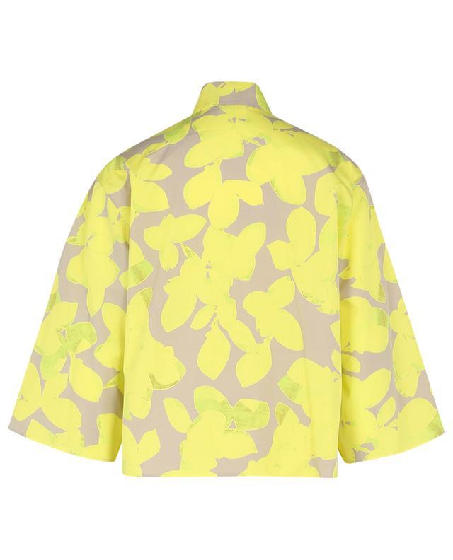 Chemise en popeline à manches trois-quarts imprimée Magnolia AKRIS PUNTO