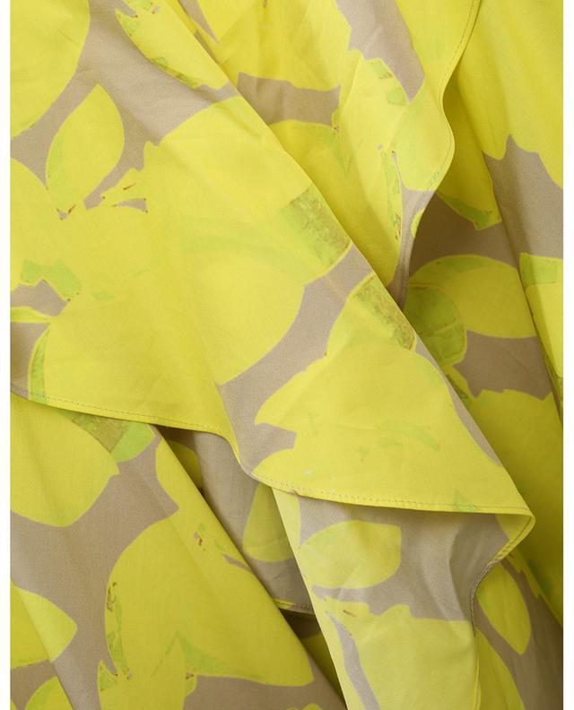 Robe chemise midi sans manches imprimée magnolia AKRIS PUNTO