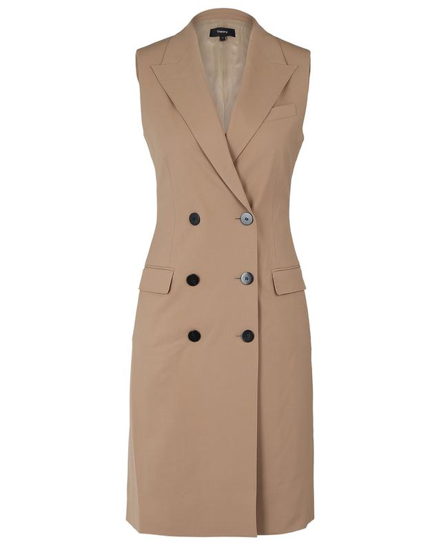 Gilet long esprit trench en laine traçable THEORY