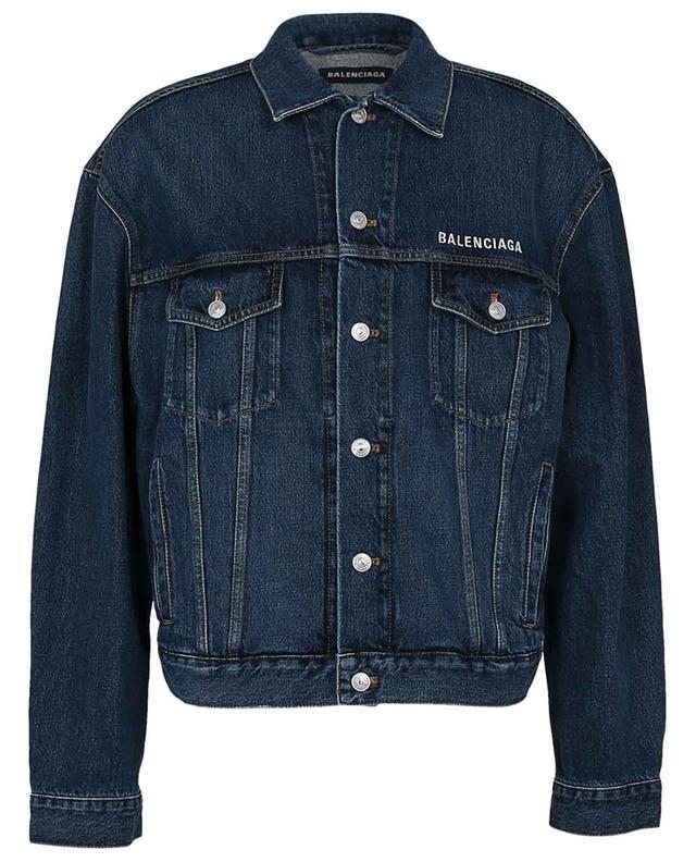 Boxy-Jeansjacke aus Denim mit Logostickerei BALENCIAGA